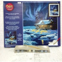Paket Melukis Paint By Number Dimensions 91223 Moonlit Cabin Aurora