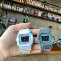 Jam tangan wanita cewek gshock digital DW5600 rubber strap white grey