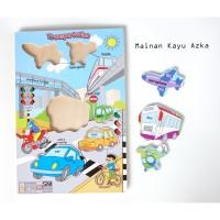 Mainan Edukasi / Mainan Anak Kayu Murah- Puzzle Kayu Transportasi New