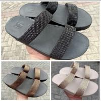 Sandal fitflop wanita rockit slide - hitam