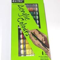 Cat Akrilik / Acrylic Colours V-Tec 12 Warna x 6 mL