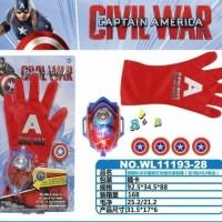 sarung tangan captain america glove & gelang senjata captain amerika