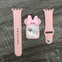 rubber case strap apple watch iwo mickeymouse minnie mouse series 38mm