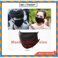 Masker Kain 3 Play Pelindung Mulut Dan Hidung Hitam Polos