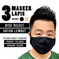 Masker Hijab / Telinga 3 Ply Lapis Kain Katun Lembut Mulut Karet Medan