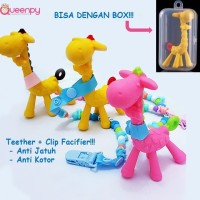Teether Jerapah + Premium Clip Pacifier, Mainan Gigitan Bayi Terlaris