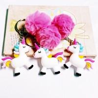 Gantungan Kunci Unicorn Pelangi Bahan PVC untuk Tas, Handphone