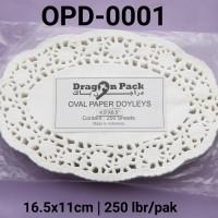 "OPD-0001 Paper doyleys alas kue kertas renda oval 4.5x6.5"""