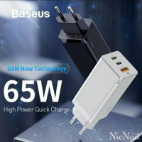 Baseus Kepala Charger 65W Gan Fast Charger 4.0 3.0 VOOC AFC SCP Type C