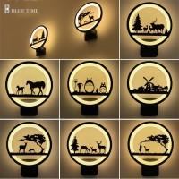 jual lampu hias dinding led siluet pemandangan dekorasi