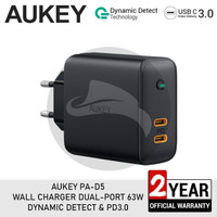AUKEY PA-D5 CHARGER 63W DUAL PORT PD POWER DELIVERY FAST CHARGING
