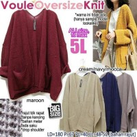 VOULE OVERSIZE KNIT FIT TO XXXXXL OUTER WANITA JUMBO 5XL CARDIGAN