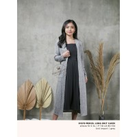 O1679 MERIEL LONG KNIT CARDI MACADAMIA HOUSE