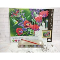 Paket Melukis Paint By Number Dimensions 73-91443 Hummingbird Poppies