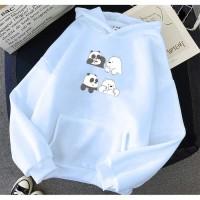 Vallenca Jaket Hoodie We Bare Bears Baby Panda Cute Warna Biru Muda