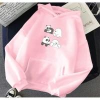 Vallenca Jaket Hoodie We Bare Bears Baby Panda Cute Warna Pink