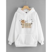 Vallenca Jaket Hoodie We Bare Bears Cute Warna Putih