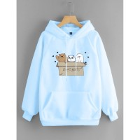 Vallenca Jaket Hoodie We Bare Bears Cute Warna Biru Muda