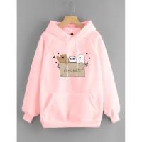 Vallenca Jaket Hoodie We Bare Bears Cute Warna Pink