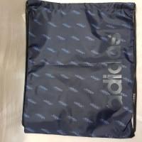 Tas Serut Adidas Drawstring Bag Linear Logo Gym Sack Biru Tua Unisex