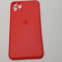 Case hp iphone 11 pro max warna merah doff ada logo apple nya cover