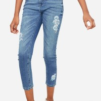 Justice Embroidered Patch Jeggings Jean Medium Wash