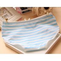 Print Garis Pakaian Dalam Wanita: 3Pcs/Set Celana Bahan Katun dengan