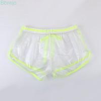 Pria Celana Trunk Boxer Brief Sexy Bahan PVC dengan Tali Serut untuk