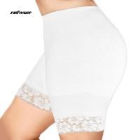 untuk Wanita Celana Pendek Model High Waist Hem Renda Warna Polos