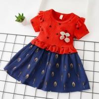 Dress Bayi Anak Perempuan Lucu Gaun Pesta Import Lengan Pendek