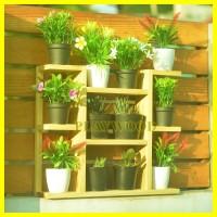 jual rak dinding kayu dekorasi tempat bunga/kaktus susun