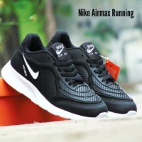 Sepatu Sport Olahraga Nike Airmax Running Hitam Putih Lari Joging