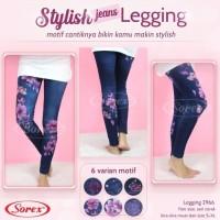 Sorex Jeans Legging 2966 Celana Panjang Stretch Motif Flower