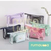 RUMAUMA Set 3IN1 Pouch Organizer Travel Tas Mini Kosmetik Alat Tulis - Biru Muda thumbnail
