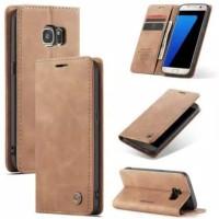 SAMSUNG Galaxy S7 FLAT Flip Case Caseme Dompet hp kulit lipat restro