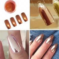 Mirror chrome copper nail art mirror powder chrome nails brown copper