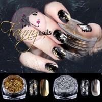 Gold silver flake flakes chrome nail art / bubuk emas nailart