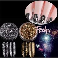 flake powder silver gold / mirror powder nailart