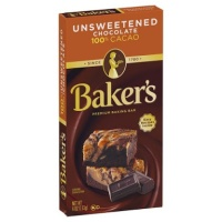 Bakers Bakers Baking Chocolate Bar Unsweetened 100% Cacao 113gr