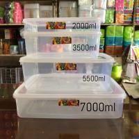 (6buah) Kotak Sayur / Tempat Makan Bekal Plastik Transparan 2000ml