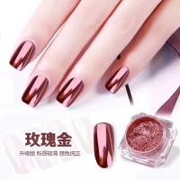 Chrome nail pink rose gold nailart / mirror powder glass effect