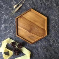 Nampan kayu segi 6   Hexagon Tray