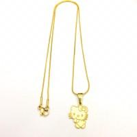 Kalung Titanium Stainless Steel Anak Hello Kitty warna Gold Keren