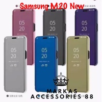 SAMSUNG GALAXY M20 FLIP COVER CLEAR VIEW STANDING HARD CASE LUXURY