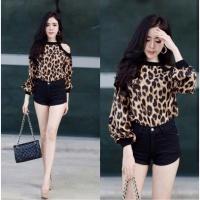Elose Leopard Blouse Baju Wanita Best Seller Shirt 2794