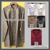 Baju Koko Lengan Panjang Bordir Baju Muslim Bahan Katun Kemeja Pria