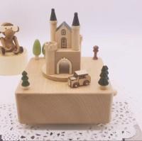 Wooden music box kotak musik kayu castle and car