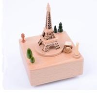 Wooden music box kotak musik kayu eiffel tower