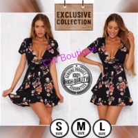 Dress Mini V Neck Summer Bohemian Sexy Casual Elegant Korean Import