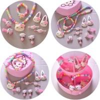 Kotak Penyimpanan Perhiasan Jepit Rambut Kalung Anak Set Hello Kitty